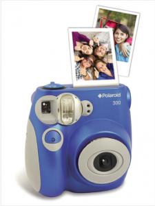 Blaue Polaroid Sofortbildkamera